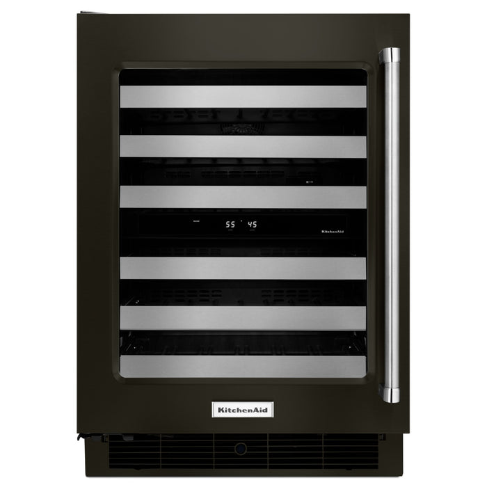 "KitchenAid 24"" Wine Cellar with Glass Door and Metal-Front Racks"