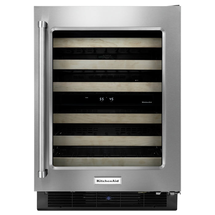 "KitchenAid24"" Stainless Steel Wine Cellar with Wood-Front Racks"