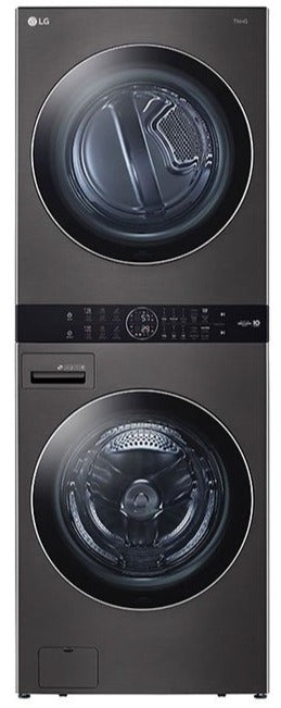 LG WKEX200HBA Single Unit Front Load WashTower - 4.5 cu. ft. Washer and 7.4 cu. ft. Electric Dryer In Black Steel