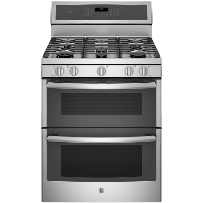 "GE PCGB980ZEJSS 30"" Free-Standing Double Oven Gas Convection Self-Cleaning Range in Stainless Steel - Range - GE - Topchoice Electronics"