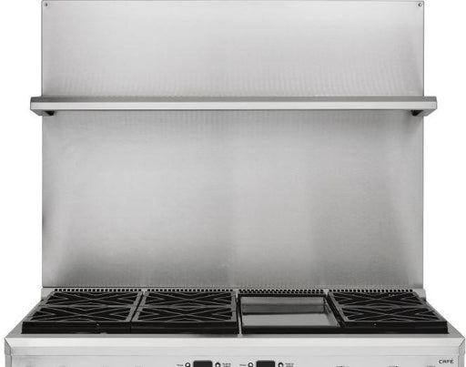 "Monogram UXADJB48PSS 30-36 Inch Height Stainless Steel BackSplash with Shelf for 48"" Range or Cooktop"