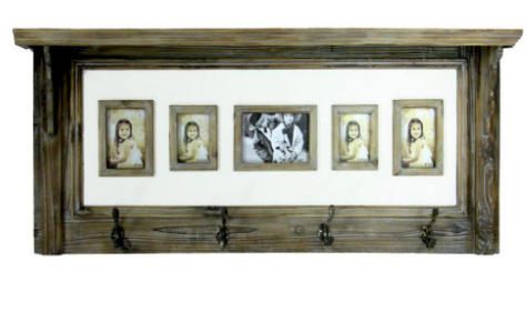 Splash HMD112 Antique Wall Shelf w/ 5 Assted Photo Openings and 4 hooks