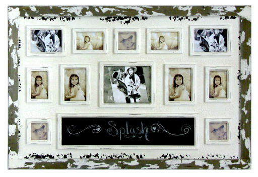 Splash HMD473 Antique Distressed Frame w/ 12 Assted Openings & Chalkboard
