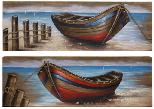 Splash BDA010S 2 Piece Wood Paintings - Boats