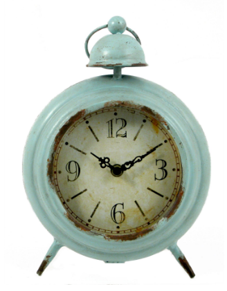 Splash ET148C Round Duckegg Blue Vintage Table Clock
