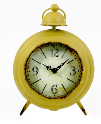 Splash ET147C Round Distressed Yellow Vintage Table Clock