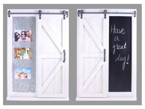 Splash UD569 White Barn Door With Chalk Board and Metal Board