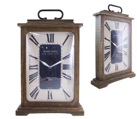 Splash ET2845 Wooden Table Clock With Metal Handle