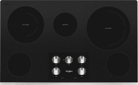 Whirlpool WCE77US6HS 36-inch Electric Ceramic Glass Cooktop with Two Dual Radiant Elements in Stainless Steel