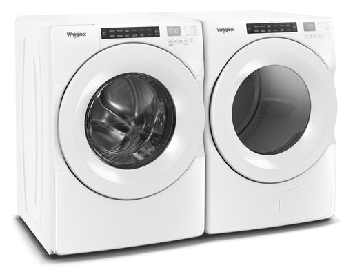 Whirlpool 5.0 cu.ft Front Load Washer with 7.4 cu.ft Front Load Electric Dryer Laundry Pair in White