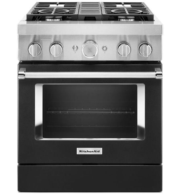 KitchenAid KFDC500JBK 30'' Smart Commercial-Style Dual Fuel Range with 4 Burners in Imperial Black