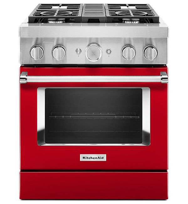 KitchenAid KFDC500JPA 30'' Smart Commercial-Style Dual Fuel Range with 4 Burners in Passion Red