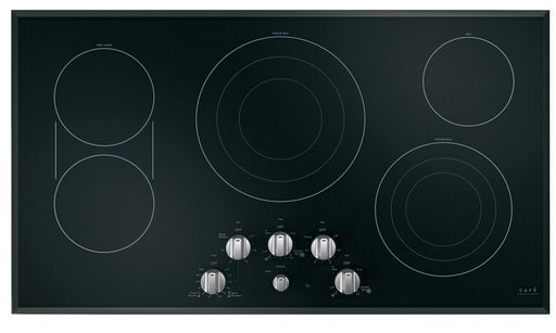 GE Cafe CEP70362MS1 36-Inch Built-in Knob Control Electric Cooktop In Black