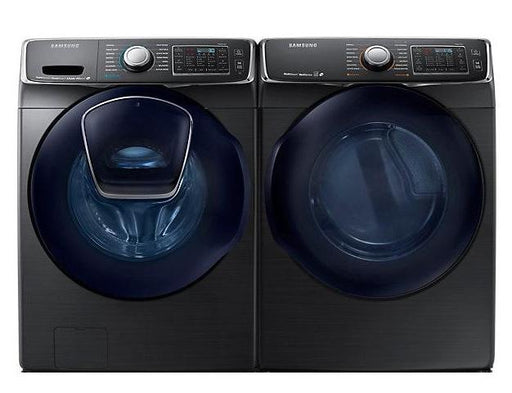 Samsung 7500 Series Front Load Washer and Electric Dryer Set in Black Stainless Steel
