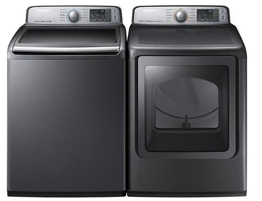 Samsung BNDL-WA50M7450AP-DVE50M7450P 5.8 cu.ft. Top-Load Washer with 7.4 cu.ft Dryer with Steam bundle - Platinum
