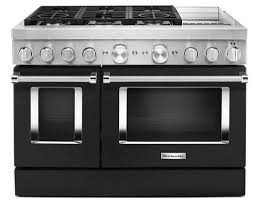 KitchenAid KFDC558JBK 48'' Smart Commercial-Style Dual Fuel Range with Griddle in Imperial Black