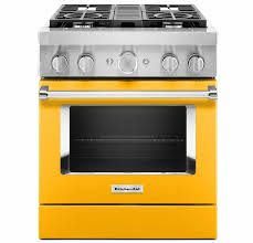KitchenAid KFDC500JYP 30'' Smart Commercial-Style Dual Fuel Range with 4 Burners in Yellow Pepper