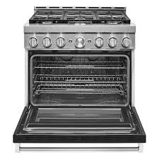 KitchenAid KFGC506JBK 36'' Smart Commercial-Style Gas Range with 6 Burners in Imperial Black