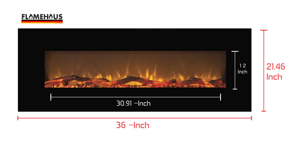 Flamehaus 36 Inch Multi Color Fireplace With Touch Screen