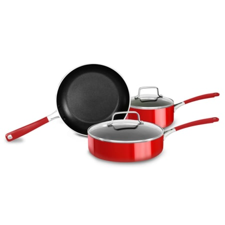 KitchenAid KC2AS05BER Empire Red Aluminum Nonstick 5 Piece Cookware Set