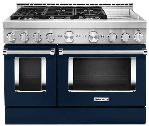 KitchenAid KFGC558JIB 48'' Smart Commercial-Style Gas Range with Griddle in Ink Blue