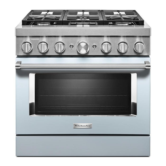 "KitchenAid KFDC506JMB 36"" Smart Commercial-style Dual Fuel Range With 6 Burners in Misty Blue"