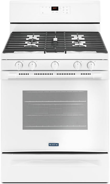 Maytag MGR6600FW 30-Inch 5.0 Cu. Ft. Wide Gas Range With 5th Oval Burner In White