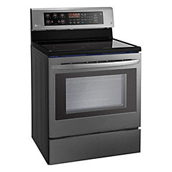 LG LRE3193BD 6.3 Cu. Ft. Electric Single Oven Range With True Convection And EasyClean in Black Stainless Steel