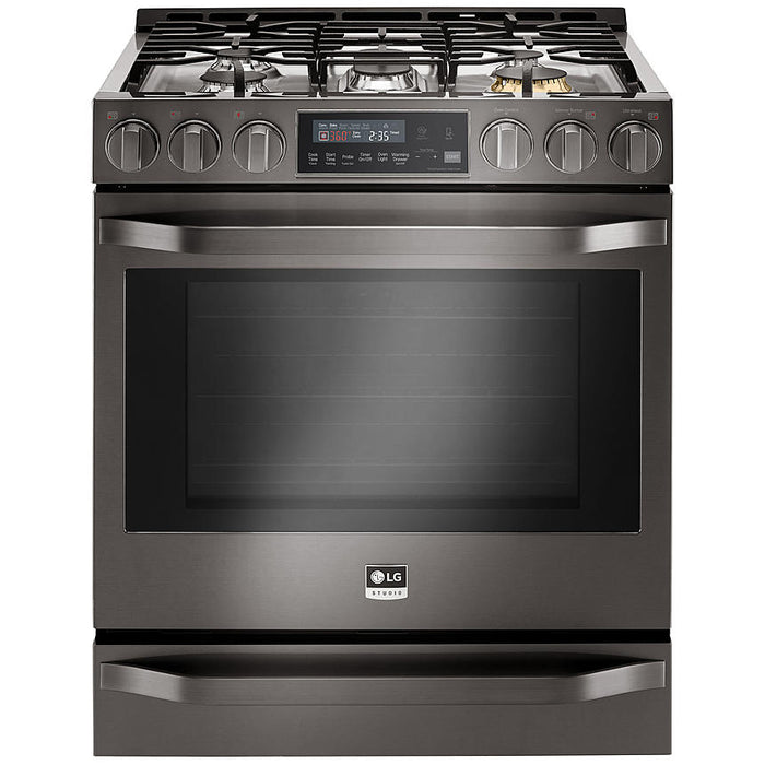 LG LSSG3019BD 6.3 Cu. Ft. Gas Single Oven Slide-In-Range with ProBake Convection in Black Stainless Steel