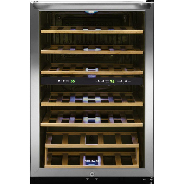 Frigidaire 38-Bottle Wine Cooler with 2 Temperature Zones in Stainless Steel - FFWC3822QS