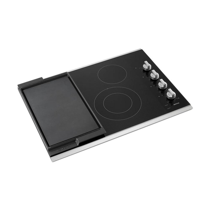 Maytag MEC8830HS 30-Inch Electric Cooktop With Reversible Grill And Griddle In Stainless Steel
