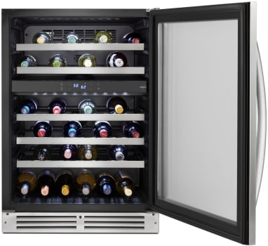 Whirlpool WUW55X24HS 24-inch Wide Undercounter Wine Center with 46-Bottle Wine Storage in Stainless Steel