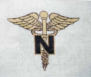 Army Nurse Insignia stitched on 28 ct Linen w 2 strands floss