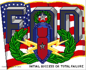 "US Flag with EOD Insignia ""Initial Success or Total Failure"" Counted cross stitch pattern original art by Stephen W Davis"