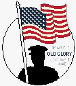 silhouette of soldier holding american flag