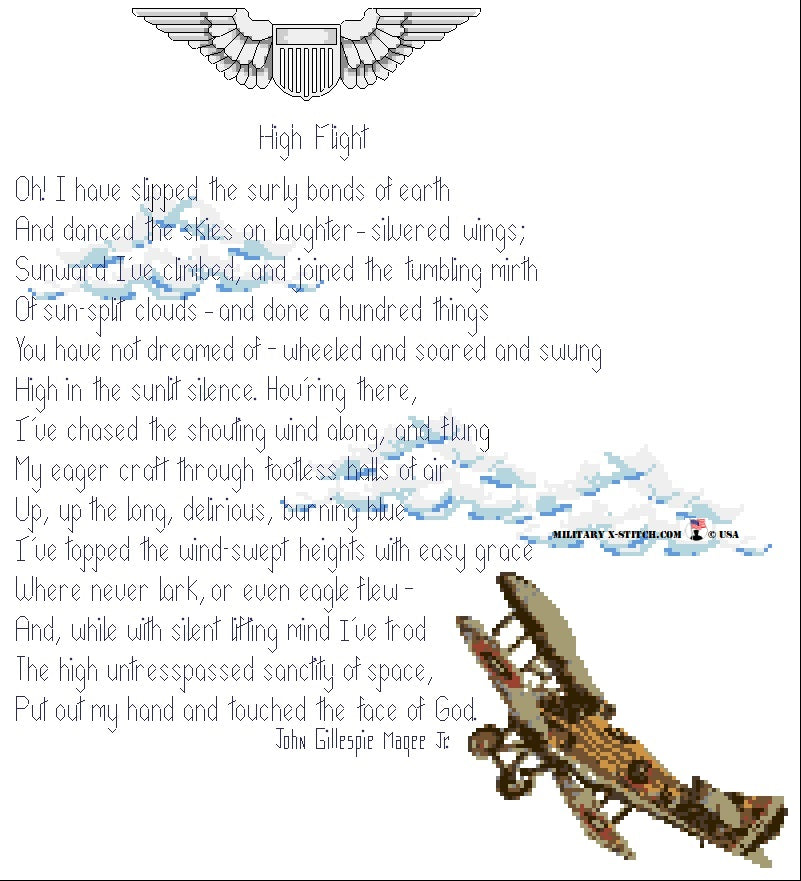 High Flight Poem with Biplane PDF