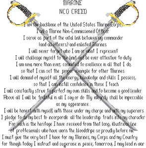 Marine Corps NCO Creed with Crossed Swords