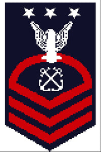 US Navy CPO,SCPO & MCPO sleeve insignia counted cross stitch pattern