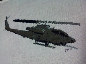 Cobra helicopter stitched on 18 count linen by Ginger P 2011 using Sherry's pattern from MilitaryXStitch,Com