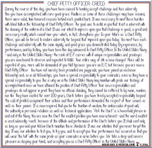 Chief Petty Officer (CPO) Creed