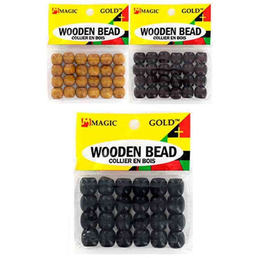 Magic Gold Wooden Bead (S) -Dark Brown - Elegance24seven Hair