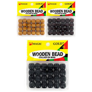 Magic Gold Wooden Bead (S) -Black - Elegance24seven Hair