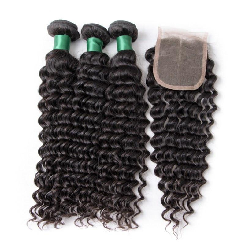 Brazilian Hair Deep Wave Human Hair 3 Bundles With free part Closure (Available Online Only) - Elegance24seven Hair