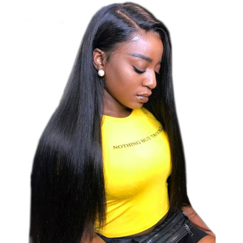 360 Lace Frontal Wig Pre Plucked With Baby Hair 150 Density Brazilian Straight Remy Wig
