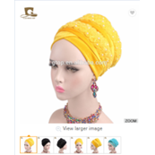 3D Beaded Flower Velvet Long Turban Headscarf - elegance24sevendotcom