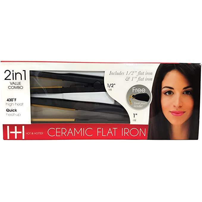 ANNIE Hot&Hotter Combo Gold 2 in 1 Ceramic Flat Iron