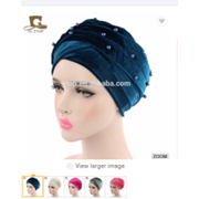 Beaded Velvet Turban Women Head Wrap - Elegance24seven Hair