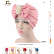 Bow Turban With The Pearl Jewelry Cotton Hat - Elegance24seven Hair