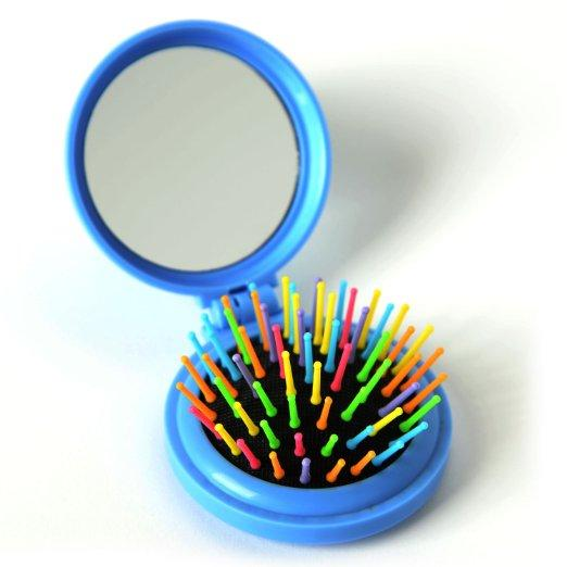 Small Fold-able Rainbow Hair Brush/Compact - Elegance24seven Hair