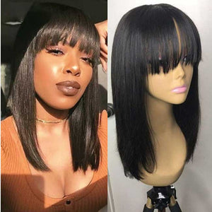 150% Density Human Hair Lace front Wig with bangs - Elegance24seven Hair
